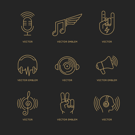 podcast: Vector set of logo design templates and icons in trendy linear style - music and sound concepts