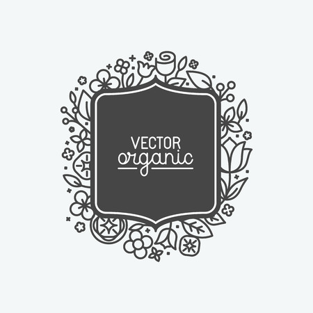 label design: Vector simple and elegant logo design template in trendy linear style - abstract emblem for floral shops or studios, wedding florists, creators of custom floral arrangements - square with flowers and leaves Illustration