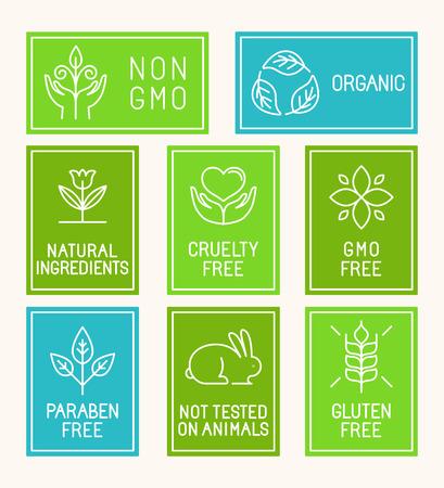 디자인 요소, 아이콘, 천연 화장품 포장 및 유기농 제품 및 식품 트렌디 한 선형 스타일 배지 벡터 설정 - 파라벤 무료, 비 GMO, 잔인 무료, 동물 테스트를