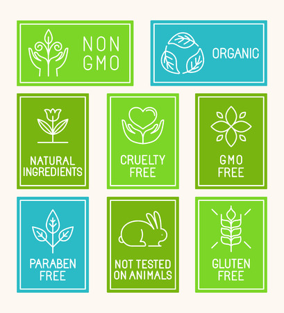 Vector set of design elements, icons and badges in trendy linear style for natural cosmetics packaging and organic products and food - paraben free, non gmo, cruelty free, not tested on animals