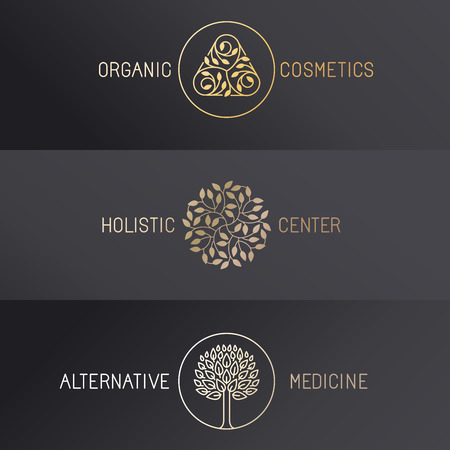 Vector set of logo design templates and emblems in trendy linear style - luxury badges in golden colors on black background - organic cosmetics, holistic center and alternative medicine Çizim