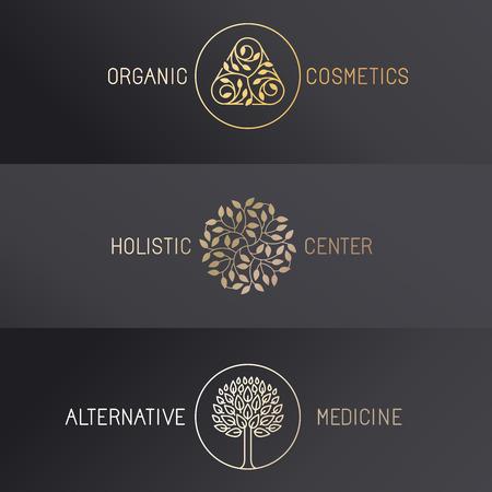 boom: Vector set van logo design templates en emblemen in de trendy lineaire stijl - luxe badges in gouden kleuren op een zwarte achtergrond - biologische cosmetica, holistisch centrum en alternatieve geneeskunde
