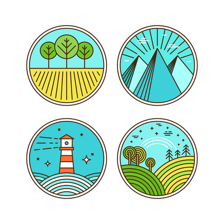 landscape architecture: Vector icons and logo design elements with landscapes in trendy flat linear style  - travel concepts