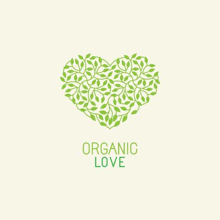 ベクトルの有機と自然のエンブレムとロゴのデザイン テンプレート - 緑色のエコロジー概念または自然化粧品 - 心の葉で作られました。  イラスト・ベクター素材