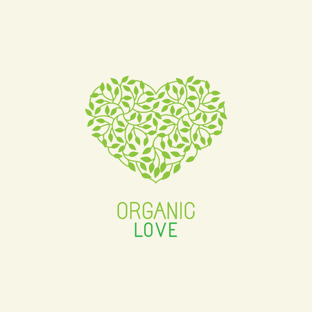 Vector organic and natural emblem and logo design template - green ecology concept or natural cosmetics - heart made with leaves