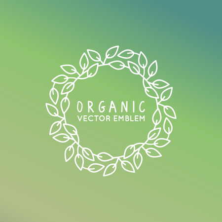 simple logo: Vector floral wreath and linear border - abstract design template for logos and insignias