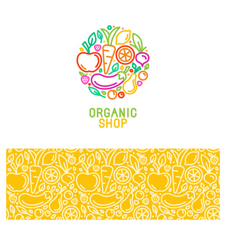 Vector design elements and seamless patterns in trend linear style for organic and natural shop and market - logo template and abstract background with icons