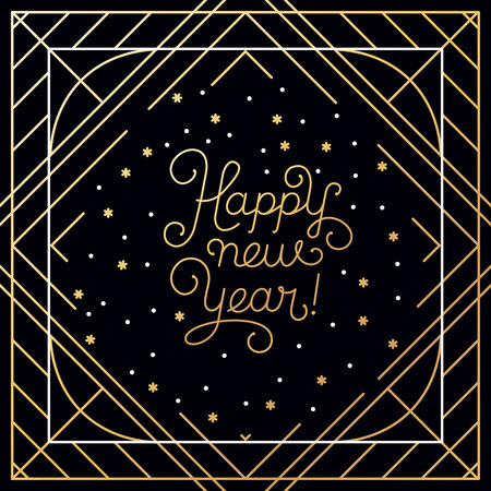 handlettering: Happy new year - greeting card with hand-lettering type in calligraphic style with linear swirls and flourishes