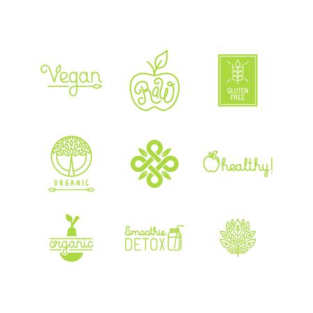 一連の緑とオーガニック製品ラベルとバッジ - さまざまなアイコンや新鮮で健康食品に関連するイラスト集