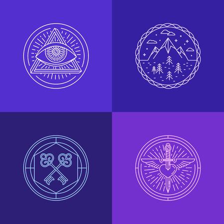 llave de sol: un conjunto de símbolos y signos abstractos lineales - conceptos místicos y mágicos Vectores