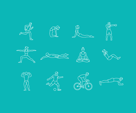 meditation man: set of linear sport icons and illustrations in trendy mono line style - people exercising - man and woman concepts - running, boxing, doing yoga, swimming Illustration