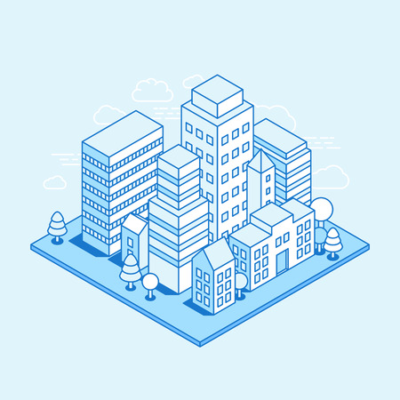 apartment block: city landscape isometric illustration - business concept and in trendy linear style  on blue background