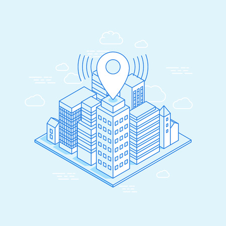 business buildings: isometric city illustration with map pin - business location concept - illustration with buildings in trendy linear style