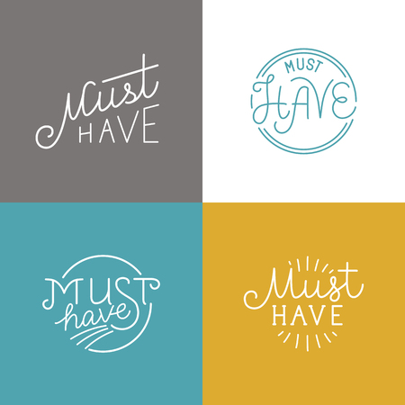attention: set of badges and labels with linear lettering - must have Illustration