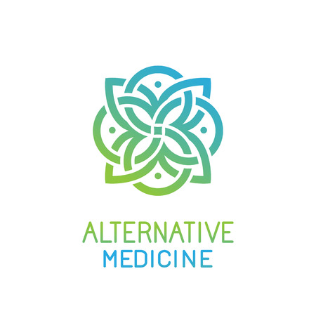 Massage: Абстрактный шаблон для альтернативной медицины, центр здоровья и студий йоги - эмблема сделано с листьями и линиями