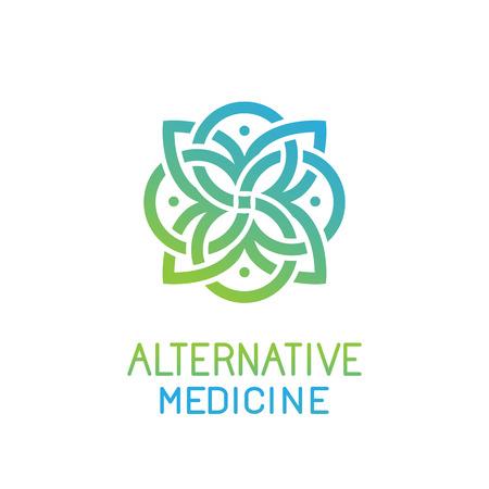 masajes relajacion: plantilla de diseño abstracto para la medicina alternativa, centro de salud y estudios de yoga - emblema hecha con las hojas y las líneas Vectores