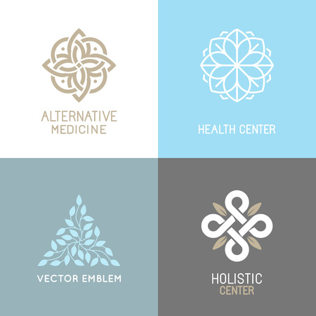 herbalist: set of abstract - alternative medicine concepts and health centers insignias  - yoga spiritual emblems