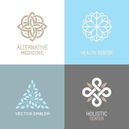 set van abstract - alternatieve geneeskunde concepten en gezondheidscentra insignes - yoga geestelijke emblemen