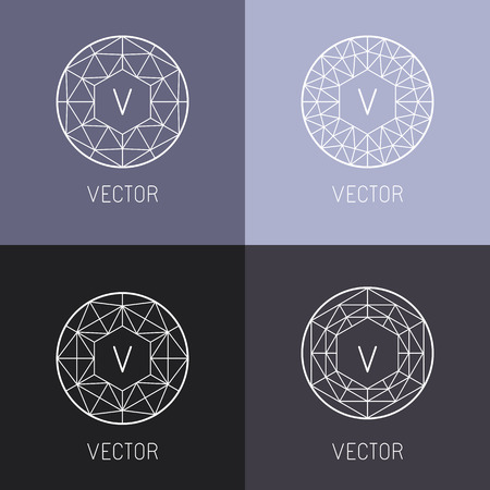 抽象的なジュエリー デザイン テンプレートとトレンディな直線的なスタイルのダイヤモンドおよび宝石のモノグラム テンプレートのセット