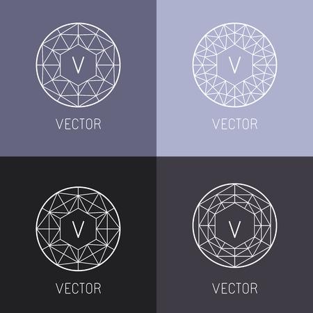 set van abstracte sieraden design templates en monogram sjablonen in trendy lineaire stijl - diamanten en edelstenen Vector Illustratie
