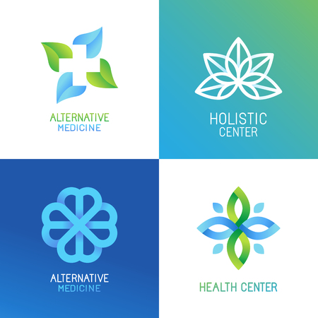herbalist: set of abstract and emblems - alternative medicine concepts and health centers insignias in gradient blue and green colors Illustration