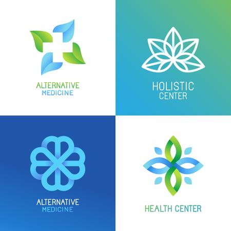 set van abstracte en emblemen - alternatieve geneeskunde concepten en gezondheidscentra insignes in gradiënt blauwe en groene kleuren