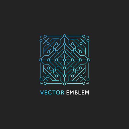 blue logo: Vector abstract technology logo design template in trendy linear style and gradient blue color - microchip and digital microcircuit Illustration