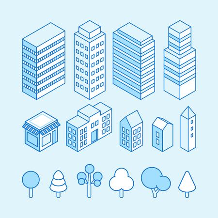 벡터 도시 풍경 아이소 메트릭 그림과 아이콘을 설정 -지도 디자인 요소