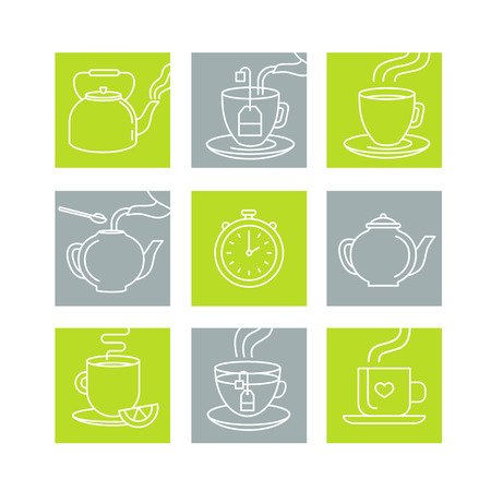 infusion: Vector illustration in trendy linear style - tea infusion instructions and guide - icons and drawings for tea packaging or infographics