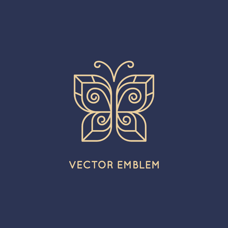 wings logos: Vector abstract logo design template in trendy linear style - butterfly icon - beauty and cosmetics concept