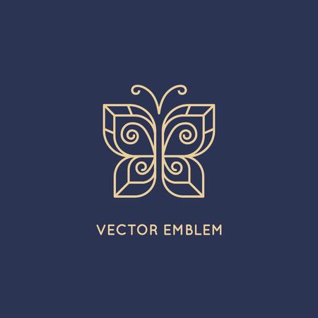 Vector abstracte logo ontwerp sjabloon in trendy lineaire stijl - vlinder icoon - schoonheid en cosmetica concept