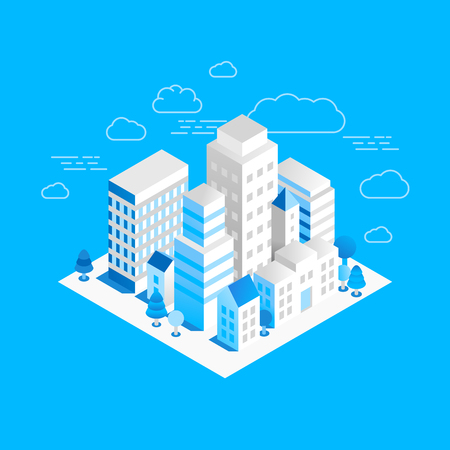 headquarters: Vector city landscape isometric illustration - business concept and banner in trendy linear style  on blue background