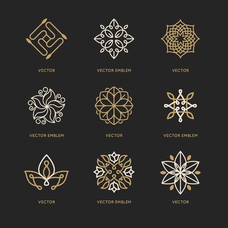 Vector conjunto de plantillas de diseño de logotipo y símbolos de estilo lineal moda - emblemas orgánicos, conceptos naturales y medicina alternativa y signos centros holísticos Logos