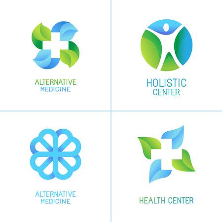 herbalist: Vector conjunto de logotipos y emblemas abstractos - conceptos de la medicina alternativa y centros de salud insignias en colores azules y verdes del gradiente