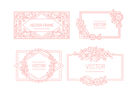 logo element: Vector floral frame with copy space for text in trendy mono line style - monogram design element with flowers and leaves - wedding invitation templates and greeting cards backgrounds Illustration