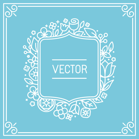 stylish couple: Vector wedding invitation or save the date card design template in trendy linear style with floral monogram and copy space for text