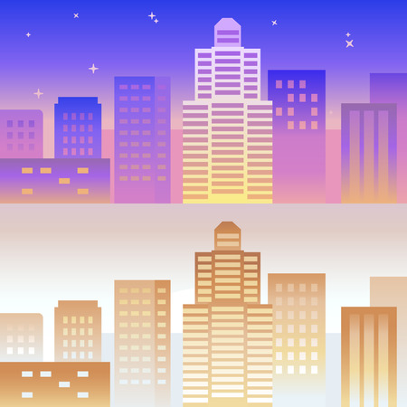 buidings: Vector horizontal banner and background in bright gradient colors - abstract city landscape with buidings and sky