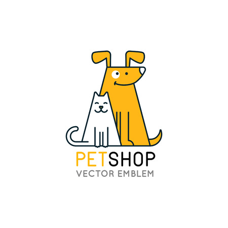 kitten cartoon: Vector logo design template for pet shops, veterinary clinics and homeless animals shelters - mono line icons of cats and dogs - badges for websites and prints