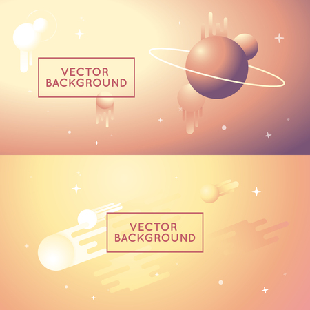heaven and earth: Vector abstract backgrounds in bright gradient colors - space background and banners for websites and apps