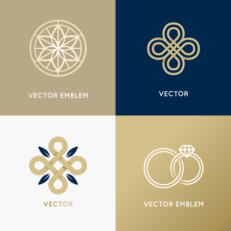 diamond jewelry: Vector abstract  design templates in trendy minimal style for luxury and exclusive products and services - jewelry concept and badges