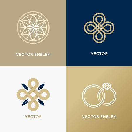 Vector abstract ontwerp sjablonen in trendy minimalistische stijl voor luxe en exclusieve producten en diensten - sieraden concept en de badges
