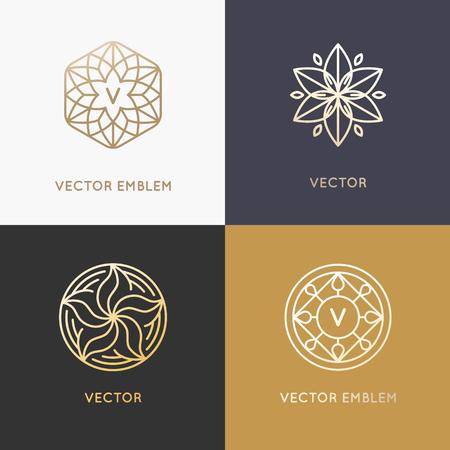 Vector abstract monogrammen en design templates in de trendy lineaire stijl in gouden kleuren - schoonheid, sieraden en mode-concepten Stock Illustratie
