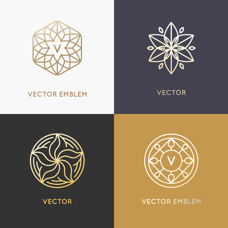 Vector abstract monograms and design templates in trendy linear style in golden colors - beauty, jewelry and fashion concepts Çizim