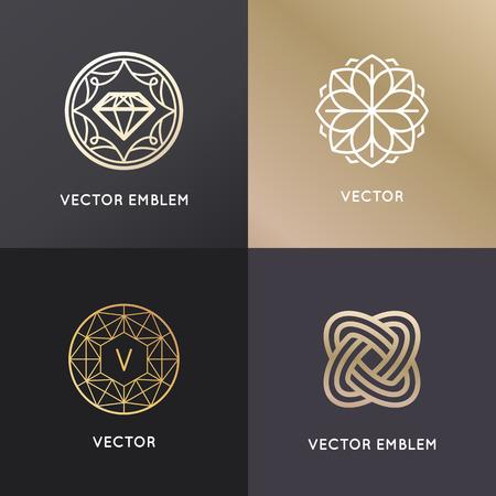 las plantillas del diseño del vector e insignias en el estilo lineal de moda - joyería de lujo y conceptos