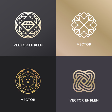 Vector design templates en badges in trendy lineaire stijl - juwelen en luxe concepten
