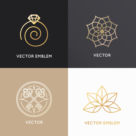 Vector abstract badges and emblems in trendy linear style in golden colors - jewelry  design templates Ilustracja