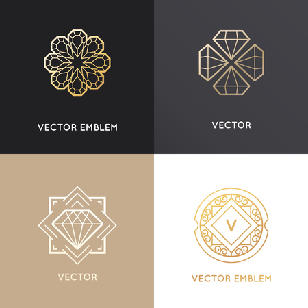 Vector abstract design templates in golden colors on dark and white backgrounds - jewelry concepts and badges with diamonds