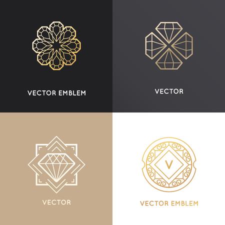 Vector abstracte ontwerp sjablonen in gouden kleuren op donkere en witte achtergronden - juwelen concepten en badges met diamanten Vector Illustratie
