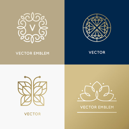 diamond jewellery: Vector abstract modern  design templates in trendy linear style in golden colors - luxury and jewelry concepts for exclusive services and products, beauty and spa industry Illustration