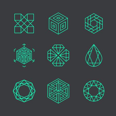 Vector abstract modern logo design templates in de trendy lineaire stijl - blokjes en diamanten - minimale geometrische concepten en badges Logo